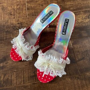 Vintage playboy kitten heels red polka dot lace